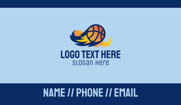 basketball equipment - Flaming Basketball Comet  Business card horizontal design