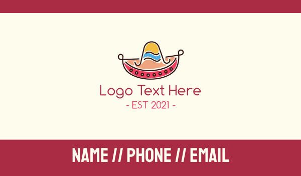 event - Mexican Sombrero Hat Business card horizontal design