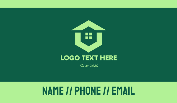Green Real Estate Home Business Card