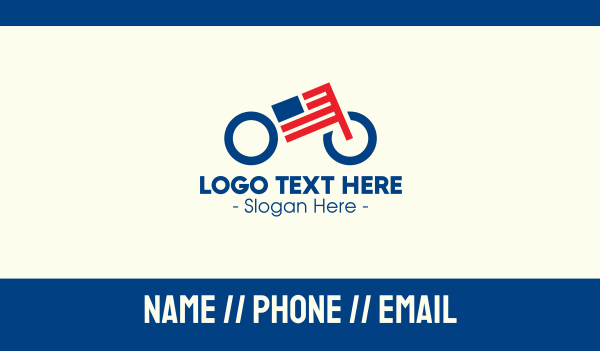 cyclist - American Flag Bike Business card horizontal design