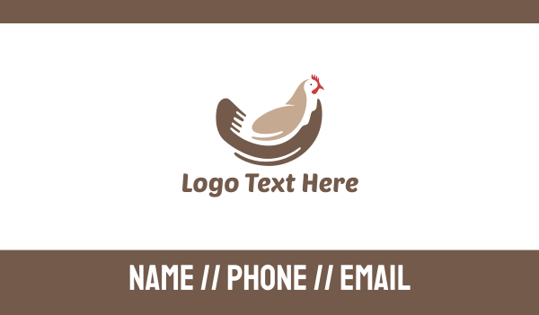 rooster - Brown Chicken Business card horizontal design