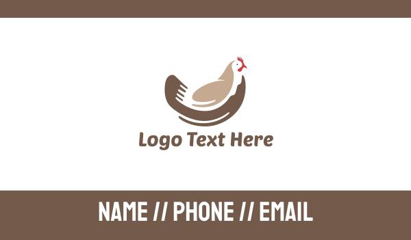 chicken farm - Brown Chicken Business card horizontal design