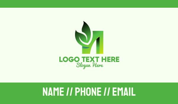 healthy food - Green Organic Leaf Letter N Business card horizontal design