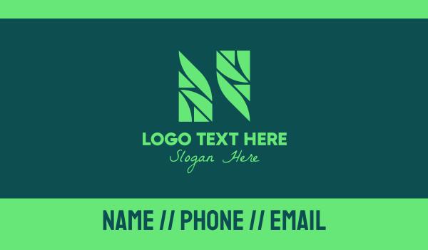 healthy food - Green Garden Letter N Business card horizontal design