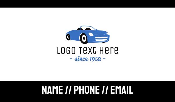 luxury car - Blue Automotive Convertible Car Business card horizontal design