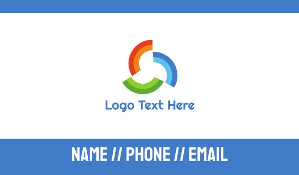 acrylic - Rainbow Pattern Trio Business card horizontal design