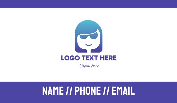 blue girl - Blue Startup Tech Woman Founder Business card horizontal design