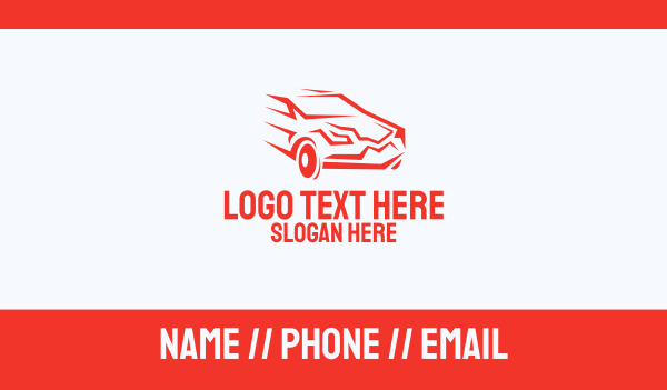 car dealership - Fast Red Car Business card horizontal design