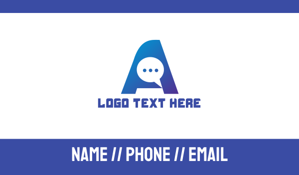 4g - Blue Chat Letter A Business card horizontal design