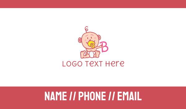 nappy - Baby & Letter B Business card horizontal design