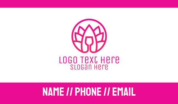 leisure - Pink Wine Glass Lotus Business card horizontal design