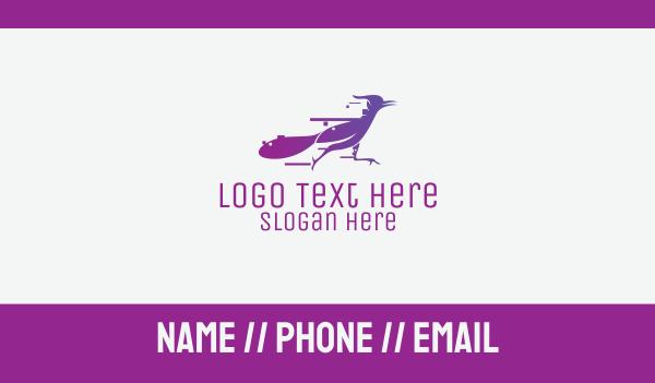 food service - Fast Purple Roadrunner Business card horizontal design