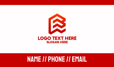 Red Isometric Letter E Business Card