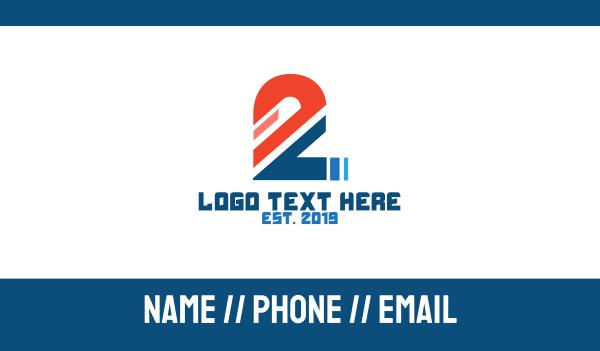 number 2 - Sliced Number 2 Business card horizontal design