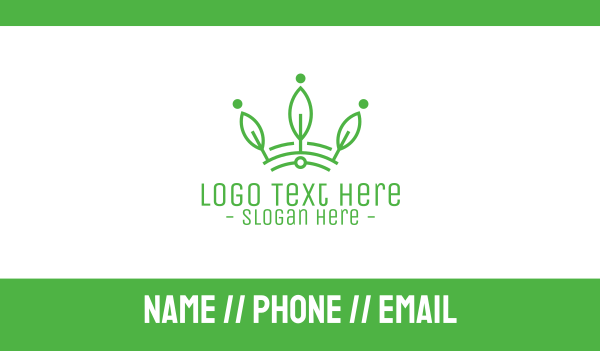 tech - Green Leaf Tech Crown Business card horizontal design