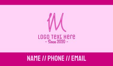 Fancy Neon Monogram I & M Business Card