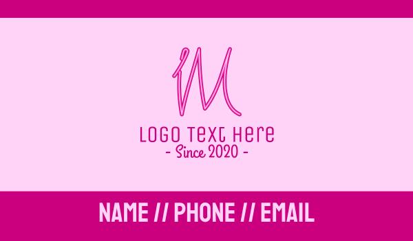 neon - Fancy Neon Monogram I & M Business card horizontal design