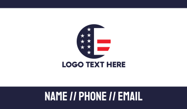 Round American Flag Business Card