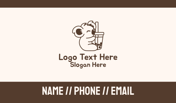 boba tea - Bubble Milk Tea Koala Business card horizontal design