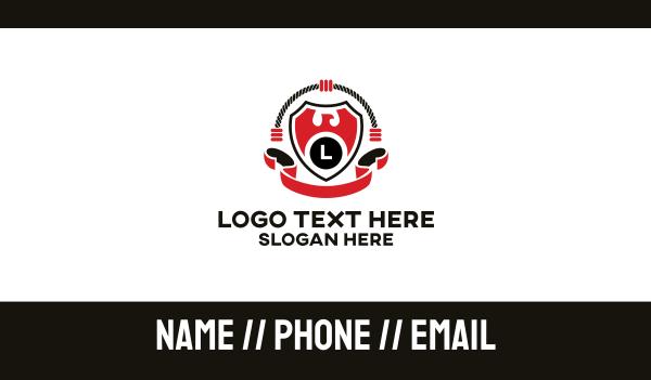 martial arts - Ring Sports Eagle Emblem Business card horizontal design