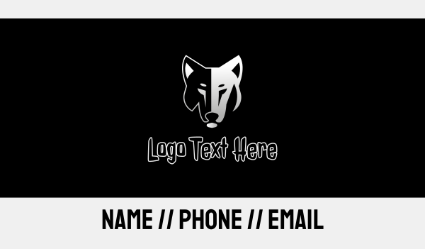 silhouette - Lone Wolf Business card horizontal design
