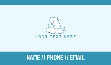 Cloud Cat Kitten Reading Business Card
