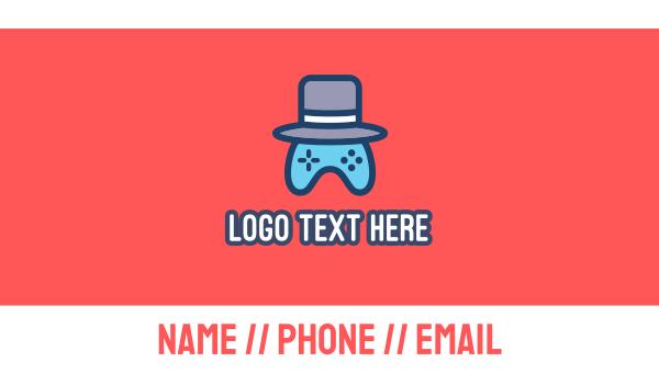 top hat - Gaming Hat Business card horizontal design