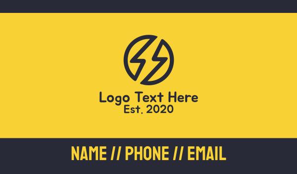 voltaic - Black Electric Bolt Business card horizontal design