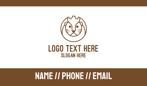 whiskers - Lion Circle Outline Business card horizontal design