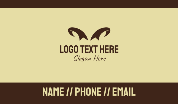 antelope - Brown Wild Horns Business card horizontal design