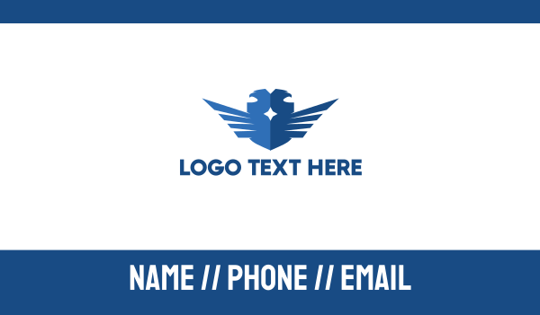 ornithology - Blue Double Falcon Business card horizontal design