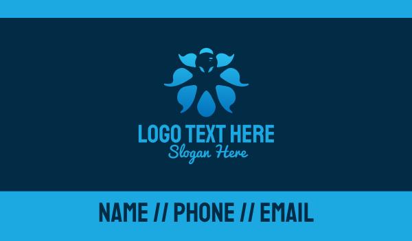 marine - Blue Octopus Monster Business card horizontal design