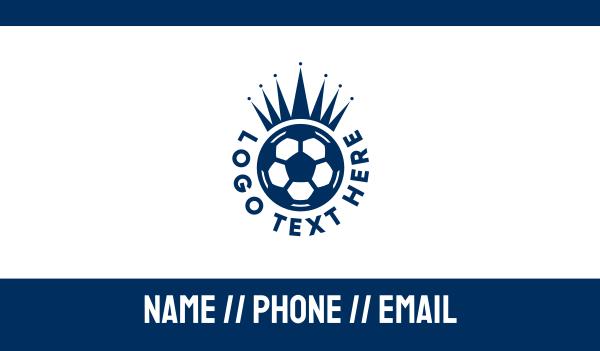 soccer championship - Soccer Ball King Crown  Business card horizontal design