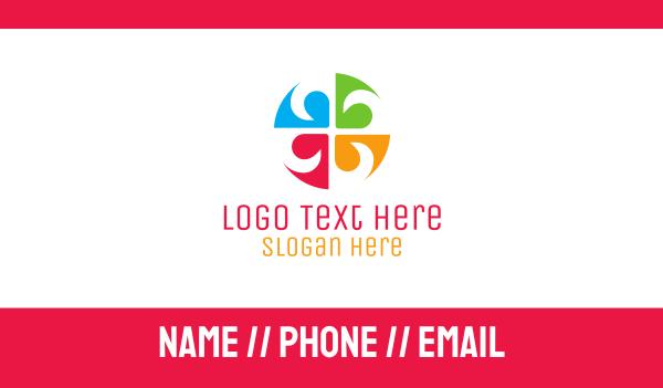 pinwheel - Colorful Floral Emblem Business card horizontal design