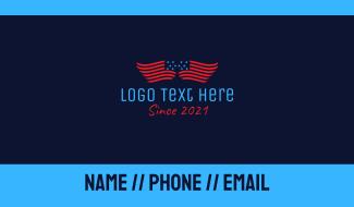 American Flag  Wings Business Card