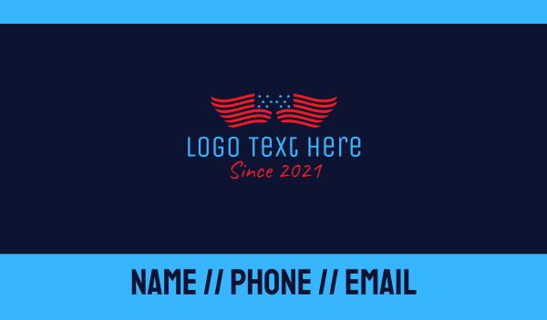republican - American Flag  Wings Business card horizontal design