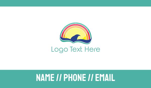 summer camp - Rainbow Bird Business card horizontal design