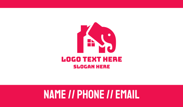 home insurance - Pink Elephant House Business card horizontal design