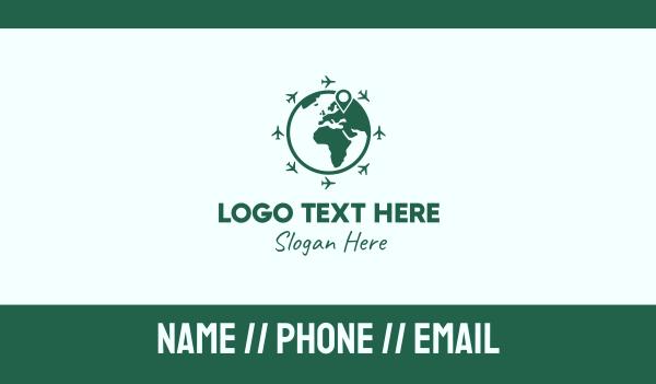 gps location - International Globe Travel Business card horizontal design