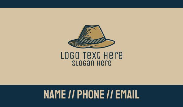 old style - Mobster Hat Business card horizontal design