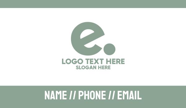 letter e - E dot Business card horizontal design
