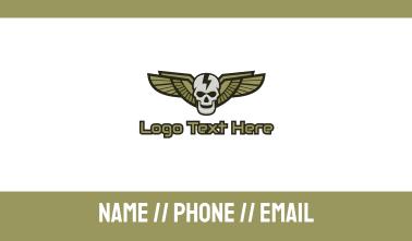 Modern Skull Wing Business Card