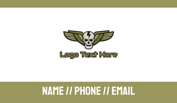 special forces - Modern Skull Wing Business card horizontal design