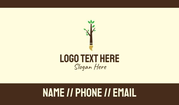tree - Eco Branch Art Paintbrush Business card horizontal design