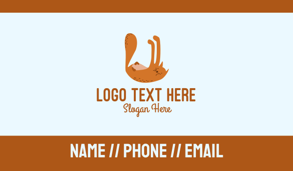letter u - Playful Cat Letter U Business card horizontal design