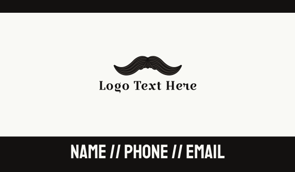 barbershop - Vintage Moustache Business card horizontal design
