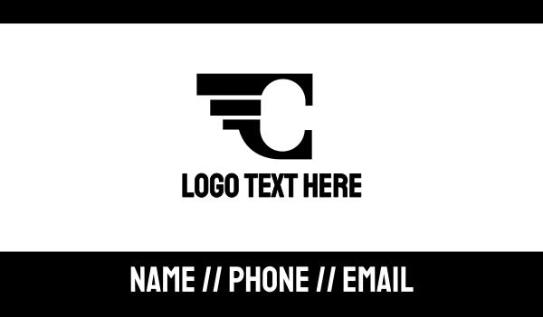 aeronautics - Black Wing C  Business card horizontal design