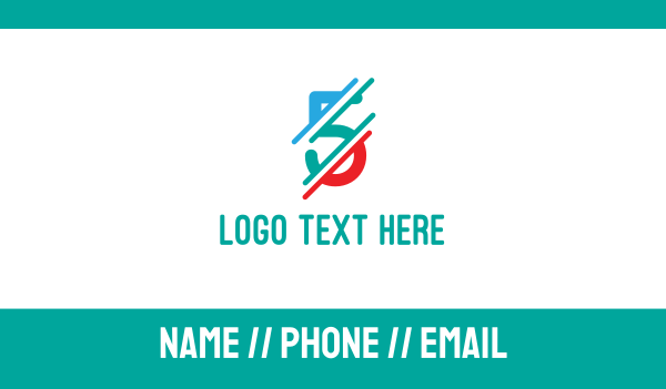 slash - Distorted Colorful Number 5 Business card horizontal design