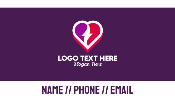 cardio - Lovely Thunder Heart Business card horizontal design