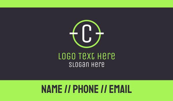 twitch streamer - Modern White C Business card horizontal design